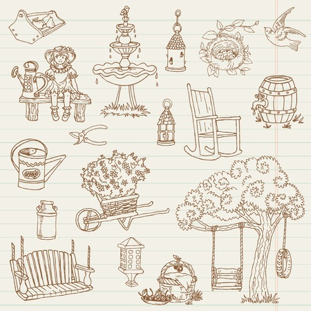animal nest: Gardening Hand Drawn Doodles - for scrapbook Illustration