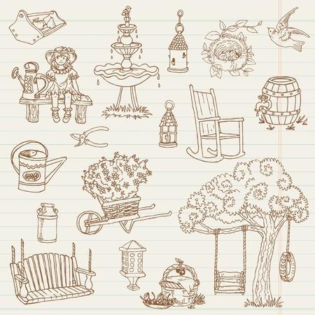 garden bench: Gardening Hand Drawn Doodles - for scrapbook Illustration