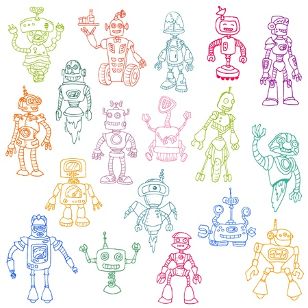 Robots Hand Drawn Doodle Set - for scrapbook or your design Stock Vector - 13359176