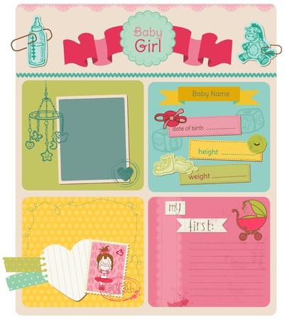 scrapbook cover: Scrapbook Design Elements - Baby Girl Cute Set Illustration