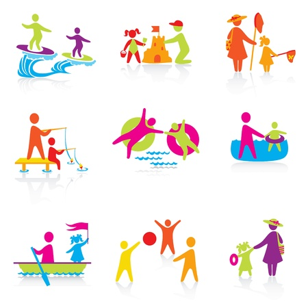 cartoon fishing: Set of Icons - Summer Time - Silhouette family. woman, man, kid, child, boy, girl, father, mother.