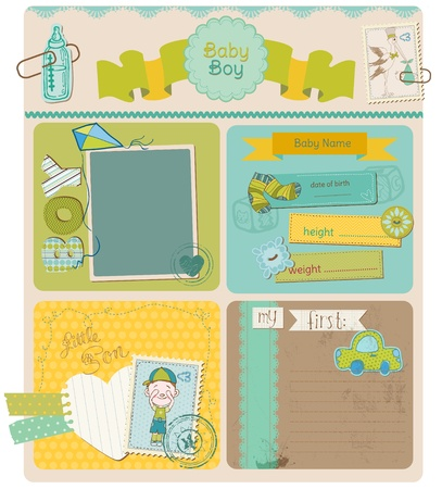 happy birthday baby: �lbum de recortes elementos de dise�o - Baby Boy lindo Set Vectores