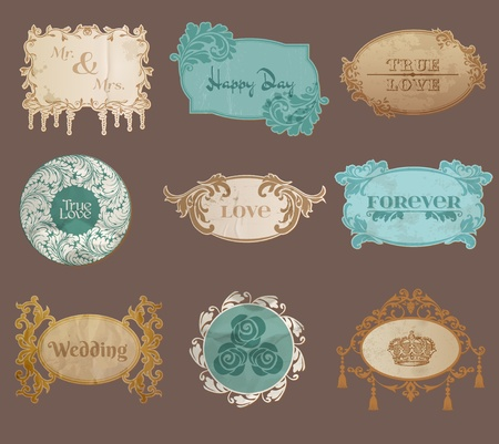 Vintage Paper Wedding Frame collection - various tags and frames for your design or scrapbook in vector Stock Vector - 13484892