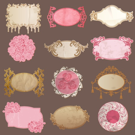 Vector Set: Vintage Paper Frame collection - various tags for your design or scrapbook Stock Vector - 13484894