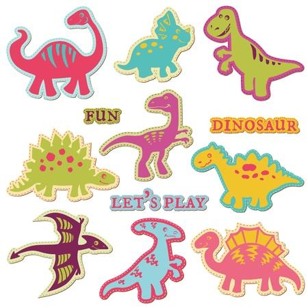 恐竜: ベクターのスクラップ ブック デザイン要素 - Сute 恐竜の設定-