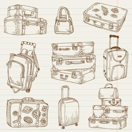 Juego de maletas vintage - para el diseño y bloc de notas en el vector