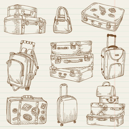 Set of Vintage Suitcases - for design and scrapbook in vector Illustration