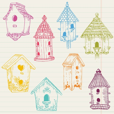 Cute Bird House Doodles - hand drawn in vector - for design and scrapbook Vector