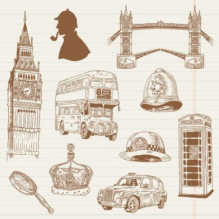bus anglais: Jeu de griffonnages Londres - pour la conception et l'album - dessin� � la main dans le vecteur Illustration