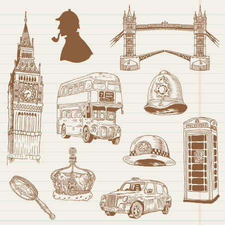 london city: Set of London doodles - for design and scrapbook - hand drawn in vector
