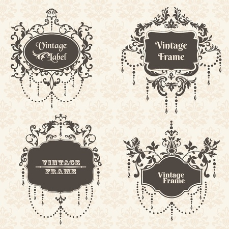retro type: Vector Set: Vintage Frame collection with FLower elements - for your design and scrapbook