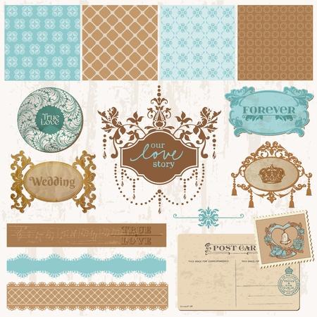 Scrapbook design elements - Vintage Wedding Set - in vector Vector