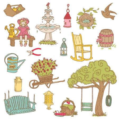 Colorful Summer Garden Doodles - for scrapbook, design in vector Illustration