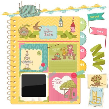 Scrapbook Design Elements - Summer Garden Doodles - in vector