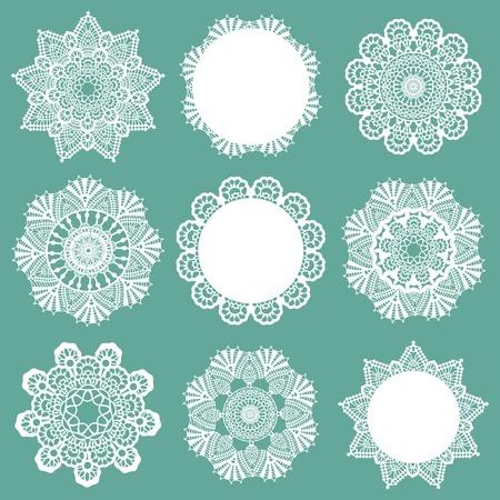 Juego de servilletas de encaje - para el diseño y libro de recuerdos - en el vector
