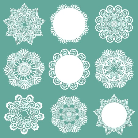 lace vector: Set of Lace Napkins - for design and scrapbook - in vector