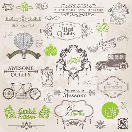 vendange: Vecteur Set: �l�ments de design et de d�coration calligraphiques page, la collecte de cadre de cru avec des fleurs