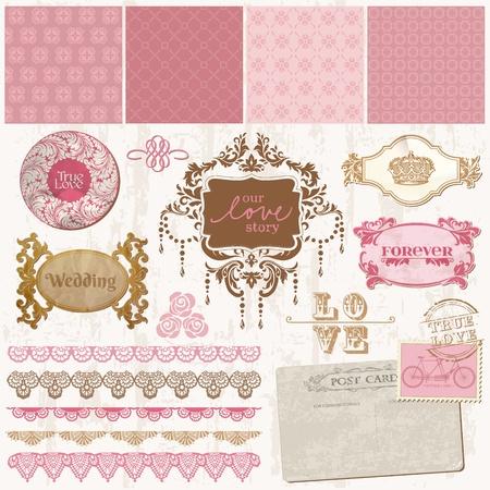 vőlegény: Scrapbook design elemek - vintage esküvői Set - vektoros