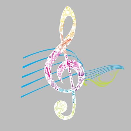 tambourine: Conjunto de ilustraciones de las notas musicales - en el vector