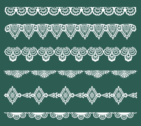 embroidery on fabric: Set of Lace Ribbons - for design and scrapbook - in vector