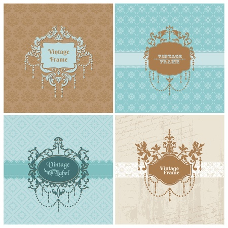 Set of Retro Cards with photo frame- for invitation, greetings, congratulation, wedding - in vector Stock Vector - 13484889