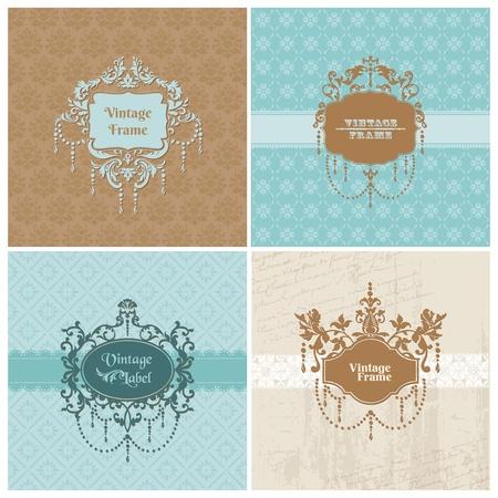 label: Set van Retro Kaarten met foto frame-voor uitnodiging, groeten, felicitatie, huwelijk - in vector