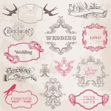 dattel: Hochzeit Jahrgang Rahmen und Design-Elemente - in Vektor