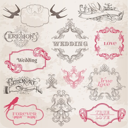 wedding symbol: Wedding Vintage Frames and Design Elements - in vector