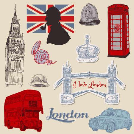 londres autobus: Juego de Garabatos de Londres - para el dise�o y libro de recuerdos - dibujados a mano en el vector