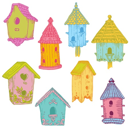 Colorful Bird Houses - hand drawn in vector - for design and scrapbook Vector
