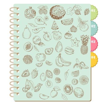 Scrapbook Design Elements -Set of Various Fruits - in vector Vector