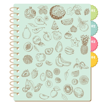 rasberry: Scrapbook Design Elements -Set of Various Fruits - in vector