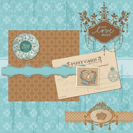 Scrapbook design elements - Vintage Wedding Set - in vector Vector
