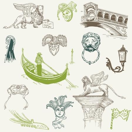 Venecia - Garabatos dibujados a mano - para el diseño y bloc de notas en el vector