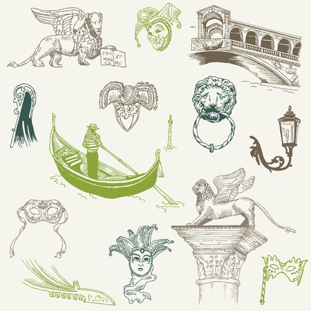 paper mask: Venice Doodles - hand drawn - for design and scrapbook in vector Illustration
