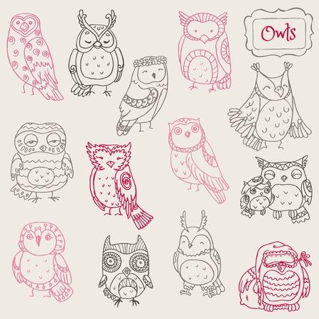owlet: Varios Colecci�n B�ho Doodle - dibujado a mano - en el vector