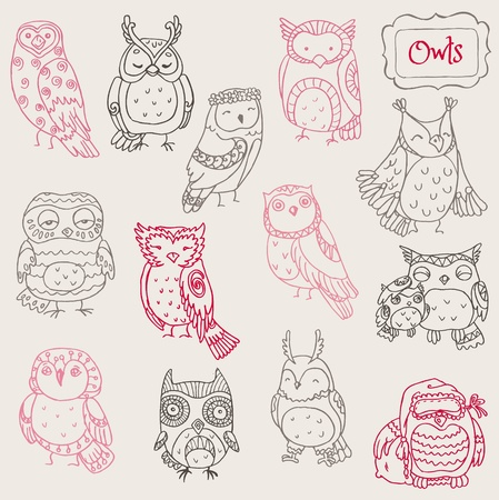 Various Owl Doodle Collection - hand drawn - in vector Vector