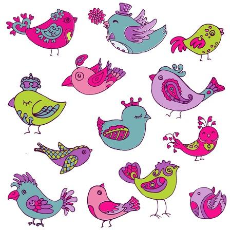 critter: Colecci�n Los p�jaros de colores Doodle - dibujado a mano en el vector - para el dise�o y libro de recuerdos