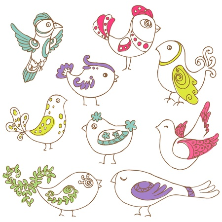 fowl: Set of different cute birds - for design and scrapbook - in vector