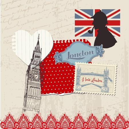 london: Scrapbook Design Elements - London Vintage Set - in vector