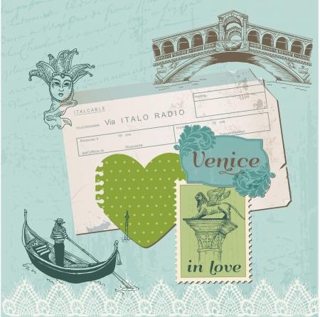 Elementos de dise�o del libro de recuerdos - Venecia Vintage Set