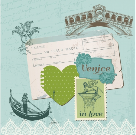 venice carnival: Scrapbook Design Elements - Venice Vintage Set Illustration