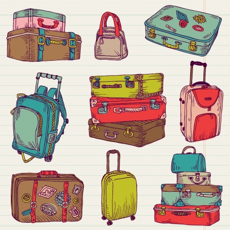 luggage bag: Set of Vintage Colorful Suitcases