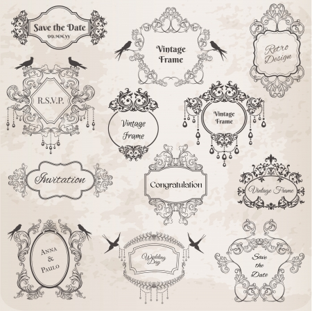 Vintage Frames and Design Elements- for wedding, invitation, birthday, greetings, scrapbook  Vector