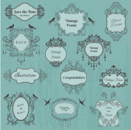 romantic love: Vintage Frames and Design Elements- for wedding, invitation, birthday, greetings, scrapbook