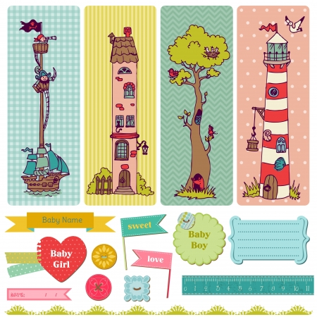 background vintage: Scrapbook Design Elements - Vintage Child Set