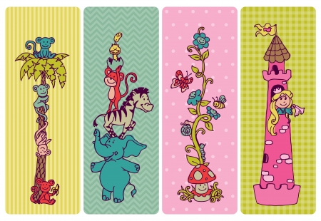 Vintage Children Banner Set  Vector