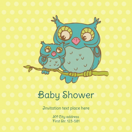 Baby Shower Card with Owls Vector