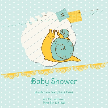 Baby Shower Card with Snail Stock Vector - 13613189