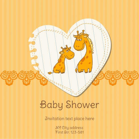 Baby Shower Card with Giraffe Stock Vector - 13613170